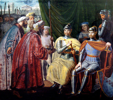 Roger I of Sicily receiving the keys of Palermo RogerReceivingTheKeysOfPalermo.JPG