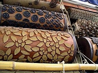 Rōketsuzome - Rōketsuzome printing wheels at Roketsuzome Yamamoto, Kyoto.