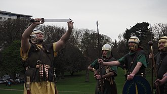 Falkirk - Romans (Antonine Guard Living History Society) saluting at Callendar House