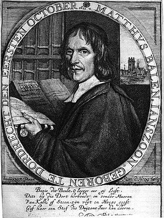 Mathias Balen - Portrait of Matthys Balen from his book, by Romeyn de Hooghe after Samuel van Hoogstraten