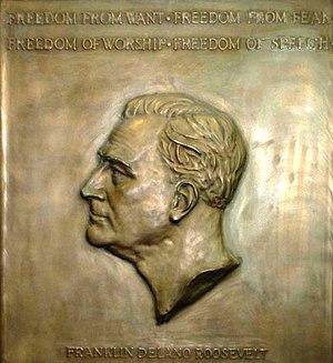 Roosevelt dime - Selma Burke's plaque for Roosevelt