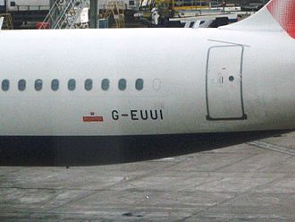 Royal Mail Ship - Royal Mail aircraft-marking; on a British Airways Airbus A320-232 G-EUUI. (Uniform India)