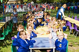 Culture of the United Kingdom - A street party at a primary school in Lancashire, England, on the occasion of the wedding of Prince William and Kate Middleton