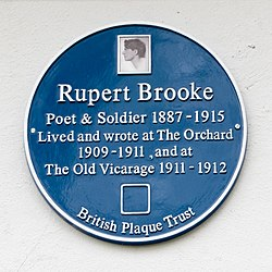 Photo of Rupert Brooke blue plaque