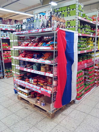 Russians in Germany - Russian food at a supermarket in Herford
