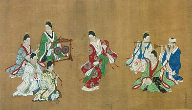 Ryukyuan Dancer and Musicians by Miyagawa Choshun, c. 1718.jpg