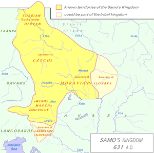 Samo's Empire - Borders of the Slav territories under the King Samo's rule in 631