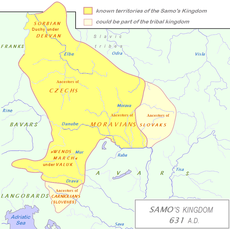 Borders of the Slavic territories under King Samo's rule in 631