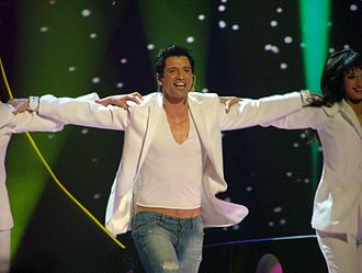 Greece in the Eurovision Song Contest 2004 - Rouvas and his dancers performed a traditional Greek syrtaki combining Greek and Western culture.