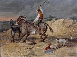 S. Richards - A man riding a stubborn mule (1869)