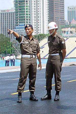 Singapore Armed Forces Military Police Command - SAF MP COMMAND providing security coverage at the Padang during the National Day Parade in 2000.