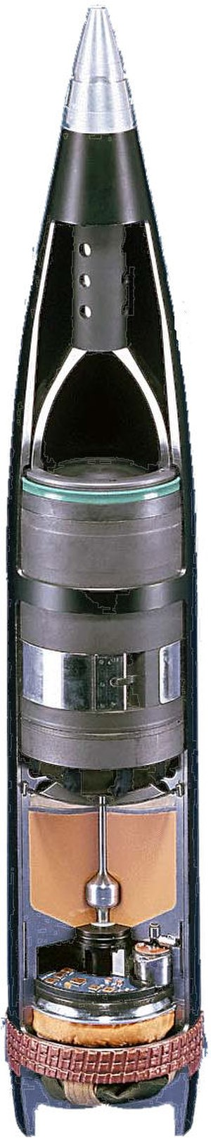 SMArt 155 - A cutaway view of a SMArt 155 round, showing both submunitions.  In this picture the lower submunition is itself shown in cutaway.