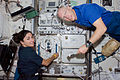 STS-128 ISS-20 Nicole Stott and Patrick Forrester work in the Kibo laboratory.jpg