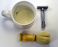 safety razor, shaving brush and shaving soap