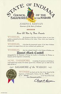 Sagamore of the Wabash Honorary award created by the U.S. state of Indiana