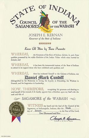 Sagamore of the Wabash - Sagamore of the Wabash certificate