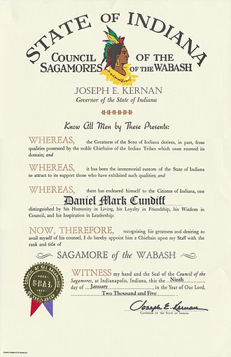 Sagamore of the Wabash - Sagamore of the Wabash certificate