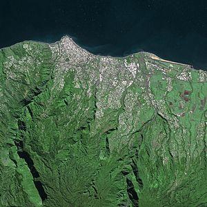 Saint-Denis, Réunion - Saint-Denis from the SPOT satellite