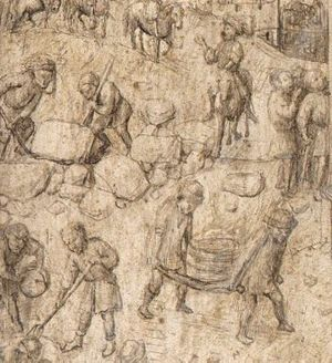 Saint Barbara (van Eyck) - Detail showing workmen