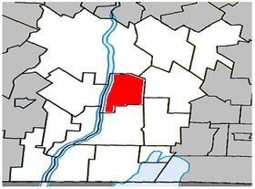Localisation de la municipalité de paroisse dans la MRC de Le Haut-Richelieu