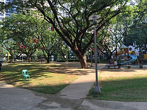 Salcedo Park - Southwest view of Salcedo Park from Tordesillas Street entrance