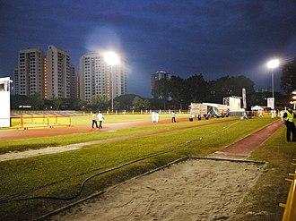 Bedok Stadium - Image: Sand pit of Bedok Stadium, Singapore 20110501