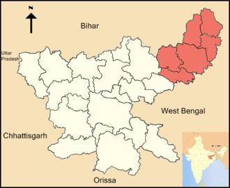 Santhal Pargana division - Location of Santhal Pargana division in Jharkhand