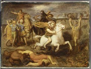 Scene from the Gallic Wars: The Gaul Littavicus, Betraying the Roman Cause, Flees to Gergovie to Support Vercingétorix