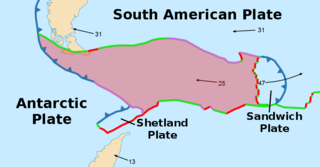 Minor oceanic tectonic plate between the South American and Antarctic Plates