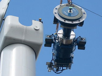 Wind turbine - Components of a horizontal axis wind turbine (gearbox, rotor shaft and brake assembly) being lifted into position