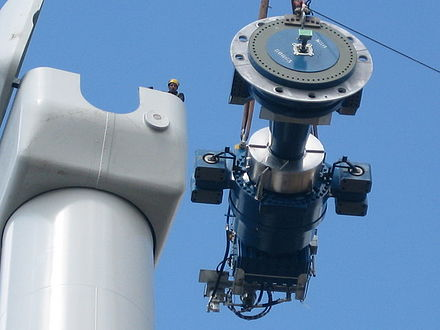 Components of a horizontal axis wind turbine (gearbox, rotor shaft and brake assembly) being lifted into position Scout moor gearbox, rotor shaft and brake assembly.jpg