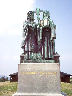 Radhošť - Sculpture of Cyril and Methodius on Radhošť