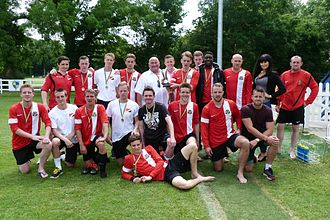 Principality of Sealand - Sealand football team with the Bates family