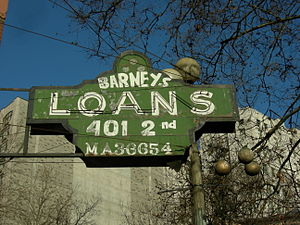 Sign for Barney's Loans, corner of Second Ave ...