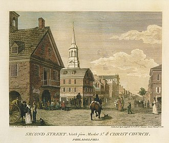 Christ Church, Philadelphia - Image: Second Street north from Market Birch's Views Plate 15