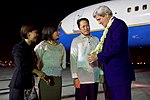 Secretary Kerry Admires a Traditional Lei Presented to him by Filipino Protocol Officials at the Villamor Airport in Manila (28531067456).jpg
