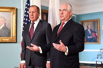 U.S. Secretary of State Rex Tillerson and Russian Foreign Minister Sergey Lavrov in Washington, D.C., May 10, 2017. Secretary Tillerson and Russian Foreign Minister Lavrov Address Reporters Before Their Meeting in Washington (34411963832).jpg