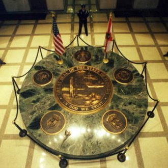 Seal of Florida - Image: Security guards around the Great Seal of Florida Tallahassee, Florida