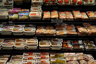 Meat - Fresh meat in a supermarket in North America