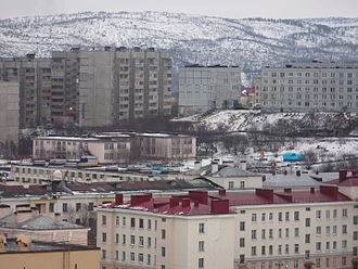 Closed city - A view of Severomorsk, Murmansk Oblast, Russia which is home to the Northern Fleet.