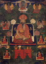 Center: Shabdrung Ngagwang Namgya. Above: primordial Buddha Vajradhara. Left: mahasiddha Tilopa with a fish. Seated right: Naropa. Sides: monks,lamas, and a yogi in a white robe. Ground Mineral Pigment on Cotton. Collection of Rubin Museum of Art.