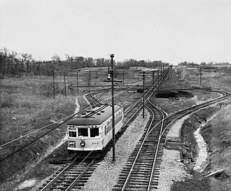 Greater Cleveland Regional Transit Authority - A Shaker Rapid car at the Warrensville Center Road Loop in 1936