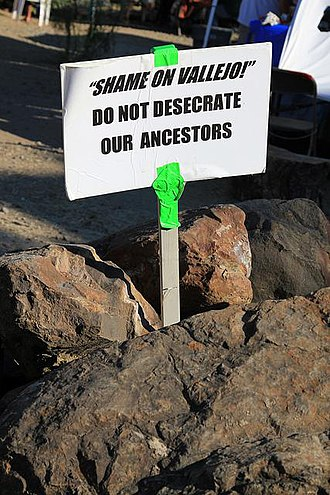 Recognition of Native American sacred sites in the United States - Image: Shame on Vallejo!