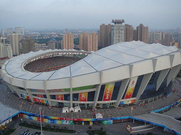 c0e1b8efe صورة من الجو للملعب خلال منافسات كرة القدم في دورة اللعاب الأولمبية 2008.