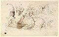 Sheet of Studies, Including for Reineke Fuchs; verso- Studies of Soldiers and of a Battle in a Wood MET DP820262.jpg