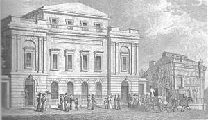 Sheffield Medical School - 1830 engraving of Surrey Street in Sheffield.  The School of Medicine is on the right of the image.