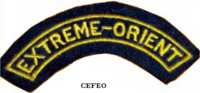 "CEFEO shoulder patch insignia bearing the ""Far East"" mark."