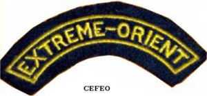 "Roger Blaizot - CEFEO shoulder patch insignia bearing the ""Far East"" mark."