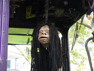 Shrunken head - Fake shrunken head in the Knight Bus, The Wizarding World of Harry Potter (Universal Orlando Resort).