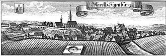 Battle of Abensberg - Siegenburg from a c. 1700 woodcut